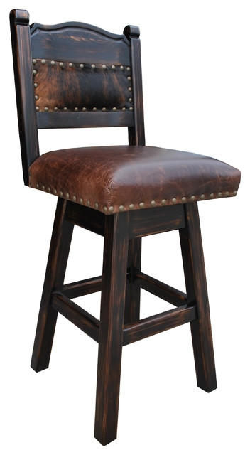Hacienda Swivel Counter Stool Cowhide 24quot Southwestern Bar with 24 Swivel Bar Stools