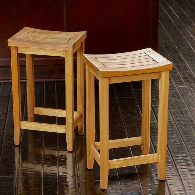 Hamburg Backless Wood Bar Stools Set Of 2 Modern Los Angeles in Backless Wooden Bar Stools
