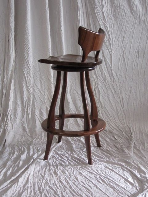 Hand Made Black Walnut Bar Stool With Swivel And Back Bearkat with regard to Low Back Swivel Bar Stools