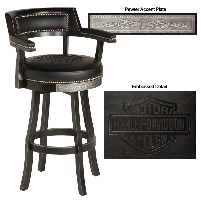 Harley Davidson Hdl 13110 V Bar Amp Shield Flames Bar Stools W regarding Harley Bar Stools