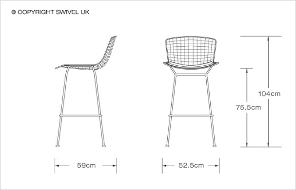 Harry Bertoia Style Wire Barstool Style Swiveluk inside bar stool dimensions for Residence