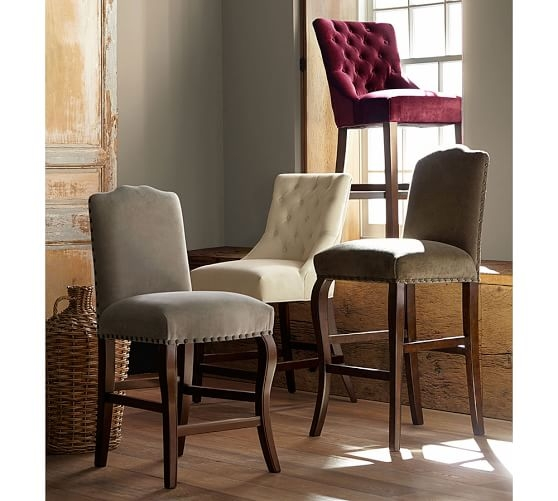 Hayes Tufted Barstool Pottery Barn with Tufted Bar Stools