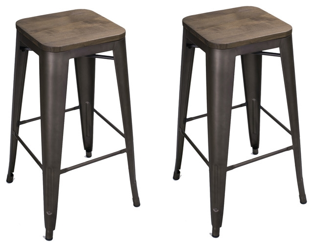 Heston Counter Stools Black And Bronze Set Of 2 Industrial regarding bronze bar stools pertaining to Motivate