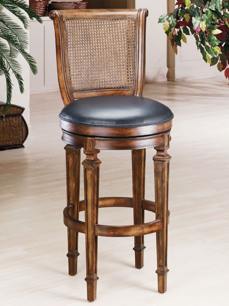 Hillsdale Dalton Cane Back Swivel Bar Stool with Bar Stools Swivel With Back