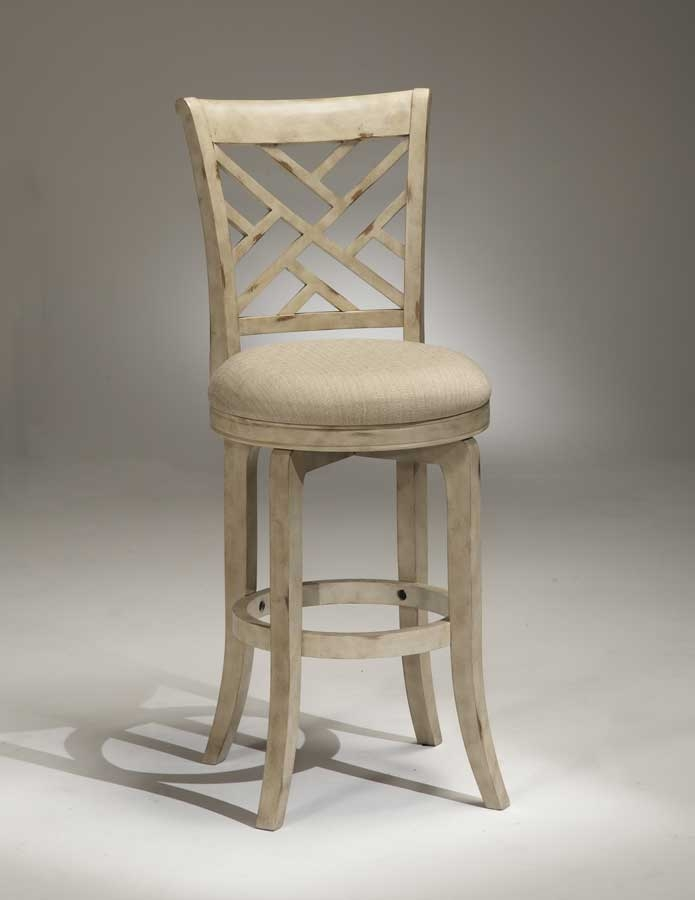 Hillsdale Garden Back Swivel Wood Bar Stool Antique White 4856 within Antique White Bar Stools