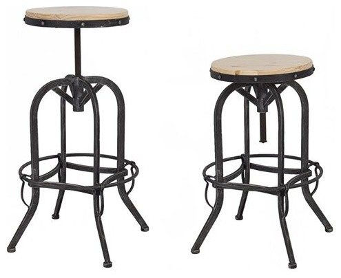 Industrial Metal And Wood Bar Stool Kitchen Kitchen Amp Dining intended for Adjustable Metal Bar Stools