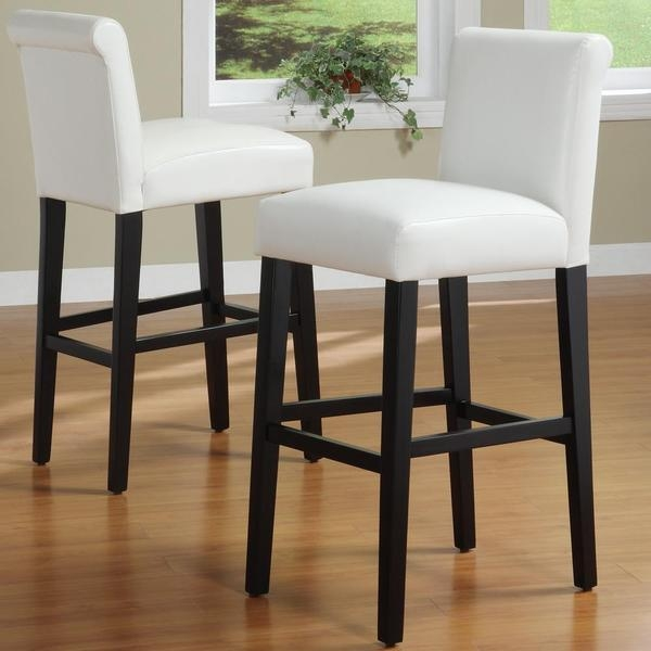 Inspire Q Bennett White Faux Leather 29 Inch Bar Stools Set Of 2 for white leather bar stools regarding Home