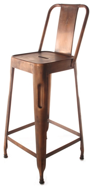 Ironworksquotdustrial Loft Aged Copper Counter Stool With Back within The Stylish  bar stools with back regarding Comfortable