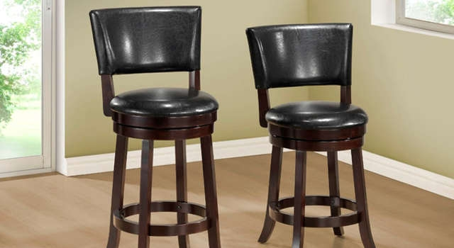 Tatum Swivel Counter Stool Dark Leather Traditional Bar with Leather Swivel Bar Stools With Back