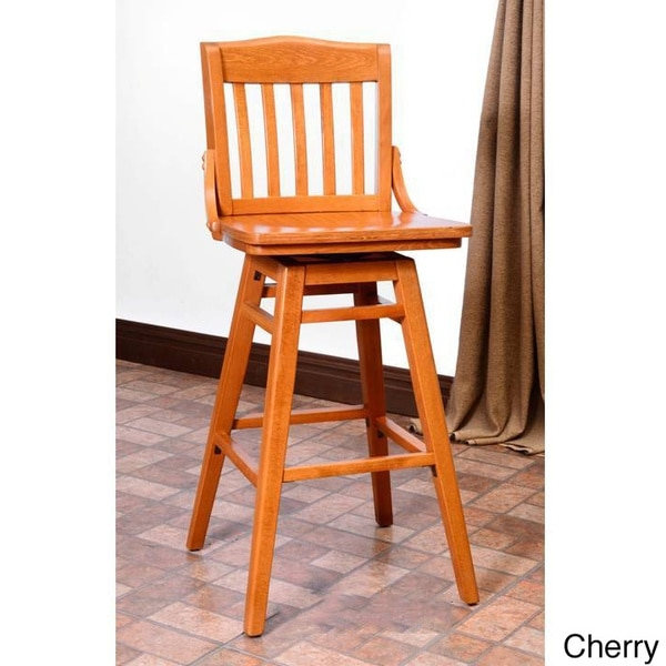 Library Beech Wood Swivel Bar Stool 16023691 Overstock intended for Swivel Wood Bar Stools