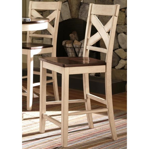 Limonium Antique White Cross Back Counter Stools Set Of 2 throughout Antique White Bar Stools