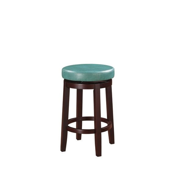 Linon Dorothy Backless Counter Stool Aqua Blue Swivel Seat in Linon Bar Stools