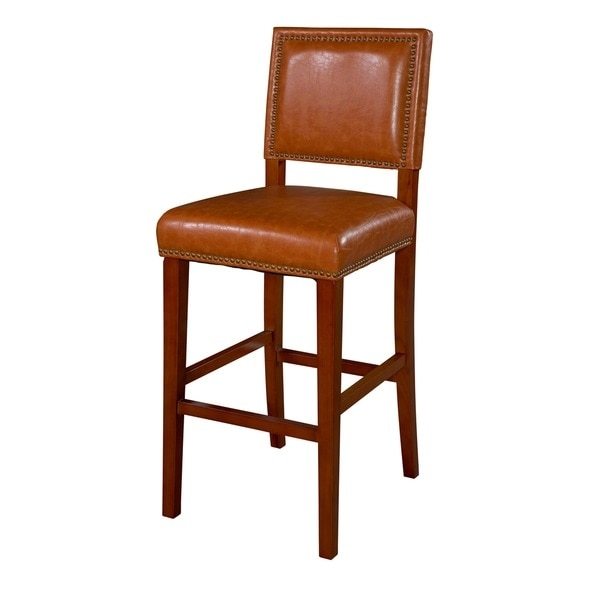 Linon Riverside Non Swivel Bar Stool Caramel Vinyl 15882425 throughout non swivel bar stools regarding Your own home