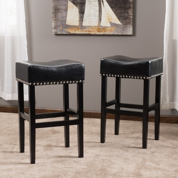Lisette Backless Leather Bar Stool Set Of 2 Christopher throughout bar stools leather with regard to  Household