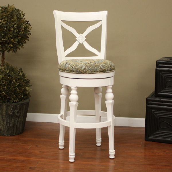 Livingston Collection Antique White Bar Stool With Blue Brown throughout White Swivel Bar Stools With Back