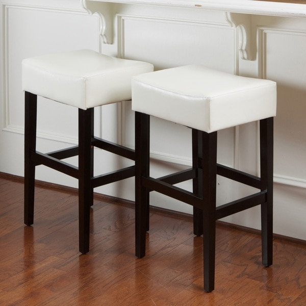 Lopez Ivory Bonded Leather Backless Bar Stools Set Of 2 inside metal backless bar stools intended for Present Residence