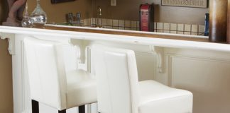 Lopez Ivory Woodleather Bar Stools Set Of 2 Christopher for Home Bar Stools