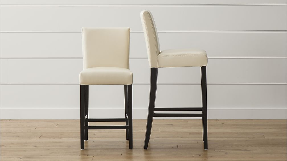 Lowe Ivory Leather Bar Stools Crate And Barrel throughout Leather Bar Stool