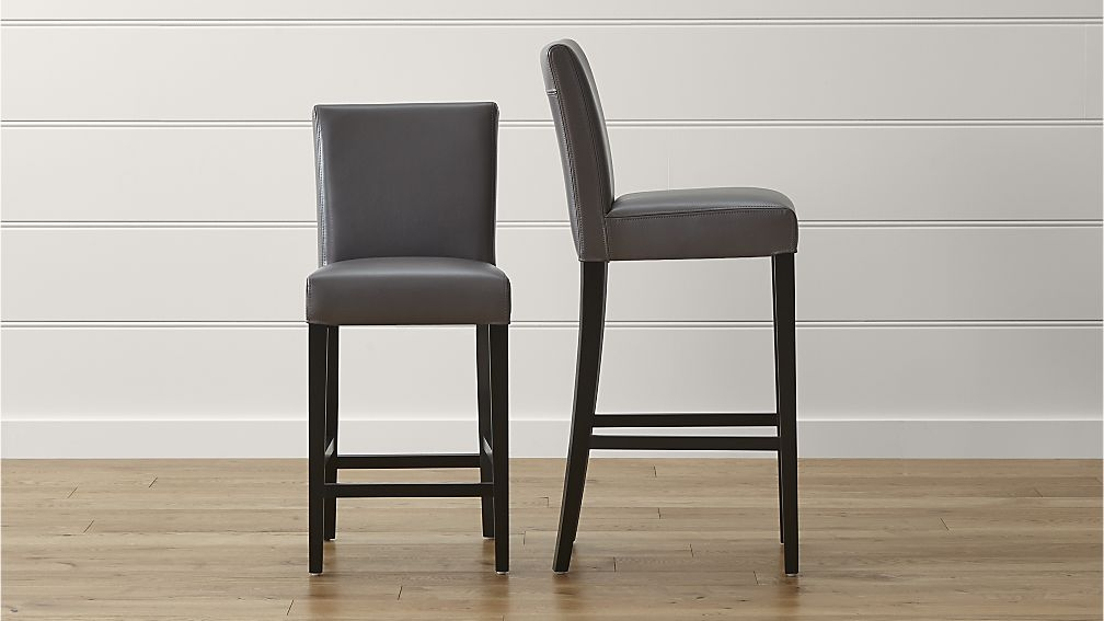 Lowe Smoke Leather Bar Stools Crate And Barrel within leather bar stools with regard to  House