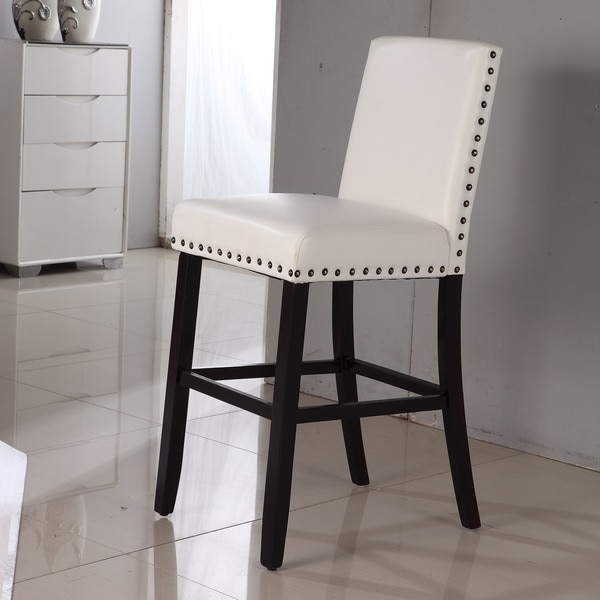 Luxury Creamy White Faux Leather Nail Head Bar Stool 16012628 inside White Leather Bar Stools