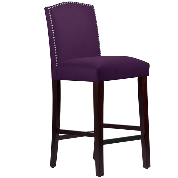 Made To Order Nail Button Arched Barstool In Velvet Aubergine with regard to aubergine bar stool with regard to Comfortable