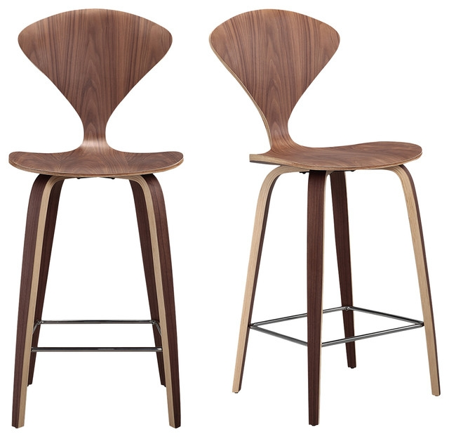 Manta Modern Barstool Chair 2 Piece Set Walnut Wood Modern inside Bar Stool Chairs