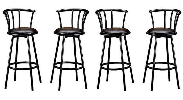 Metal Swivel Bar Stools Made With Black Metal Other Metals for metal swivel bar stools with back intended for Comfortable