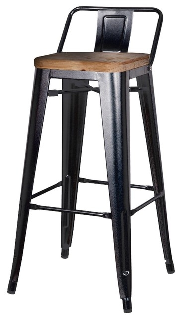 Metropolis Low Back Barstool With Wood Seat Black Set Of 4 with regard to Low Back Bar Stools