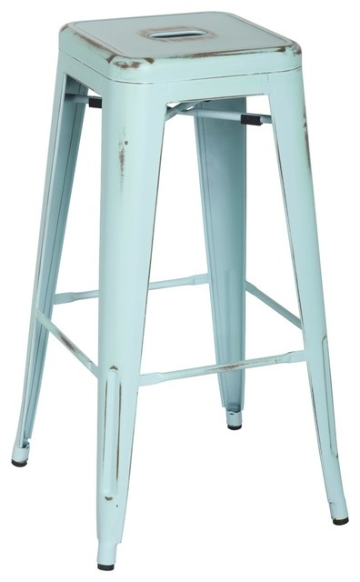 Metropolis Metal Backless Barstool Distressed Blue Set Of 4 within Metal Backless Bar Stools