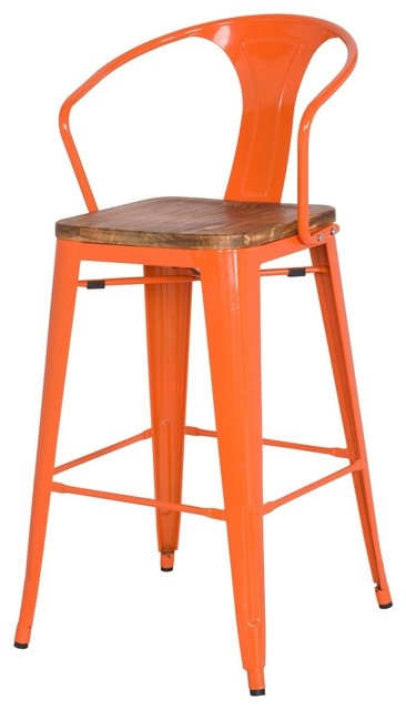 Metropolis Metal Barstool With Wood Seat Orange Set Of 4 with regard to Orange Bar Stools
