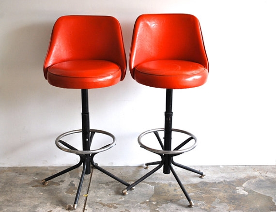 Mid Century Barstools Vintage Tangerine Swivel Charliesnest intended for The Amazing along with Beautiful retro swivel bar stools intended for Inspire