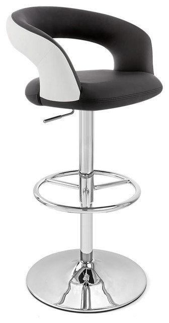 Monza Adjustable Height Swivel Armless Barstool Black And White inside Black And White Bar Stools