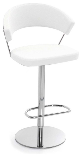 New York Swiveling With Gas Lift Bar Stool Leather White Bar with regard to Bar Stools White