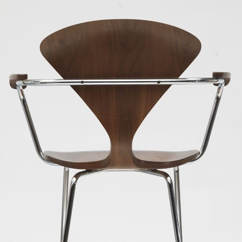 Norman Cherner Bar Stool With Arms Chrome Base In Classic Walnut with regard to The Awesome and also Lovely cherner bar stool regarding Home