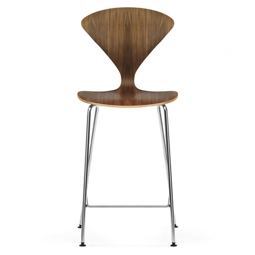Norman Cherner Counter Bar Stool Chrome Base In Natural Walnut for The Awesome and also Lovely cherner bar stool regarding Home