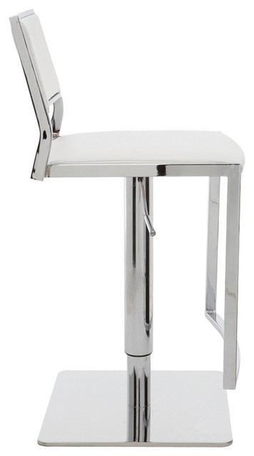 Nuevo Aaron Adjustable Bar Stool White Contemporary Bar in The Most Amazing  modern white bar stools regarding Household