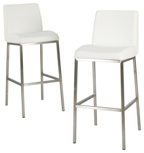 October Bonded Leather Bar Stools Set Of 2 Contemporary Bar in White Leather Bar Stool