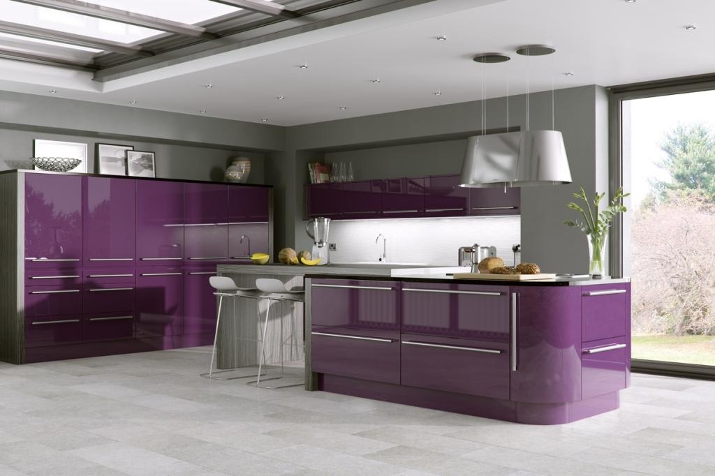 Odyssey Aubergine Gloss Slab Door 2041 Diy Luxury Kitchens in aubergine bar stool with regard to Comfortable