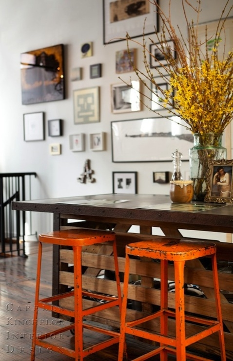 Orange Bar Stools Transitional Dining Room Capella Kincheloe pertaining to The Most Brilliant along with Interesting orange bar stools intended for Warm