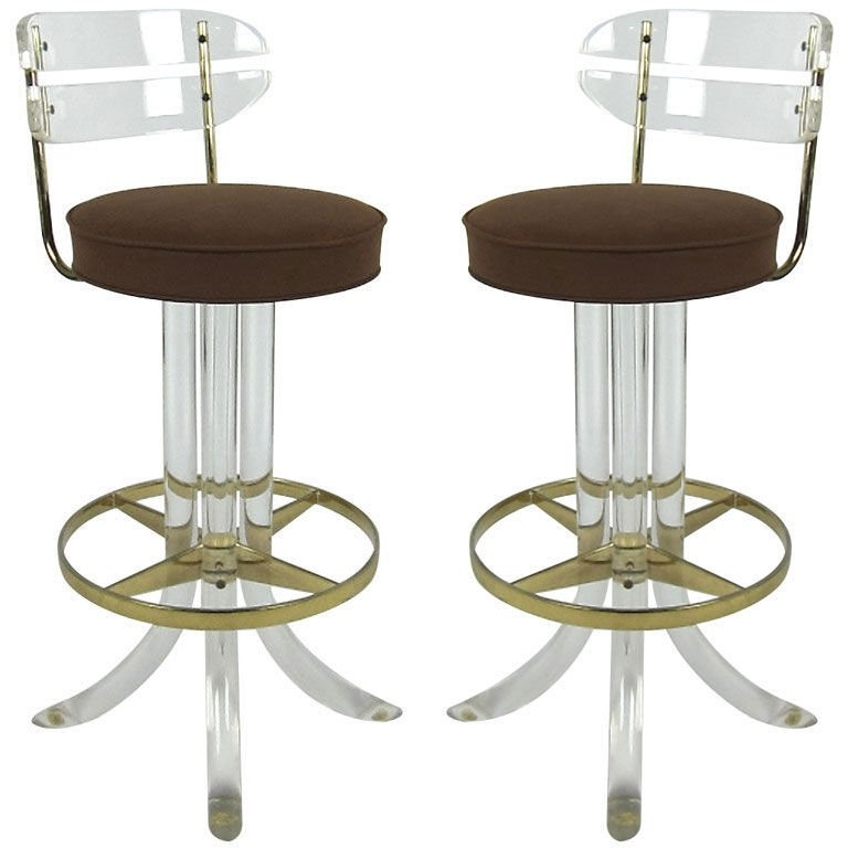 Pair Of 7039s Lucite And Brass Bar Stools At 1stdibs with lucite bar stools pertaining to Residence