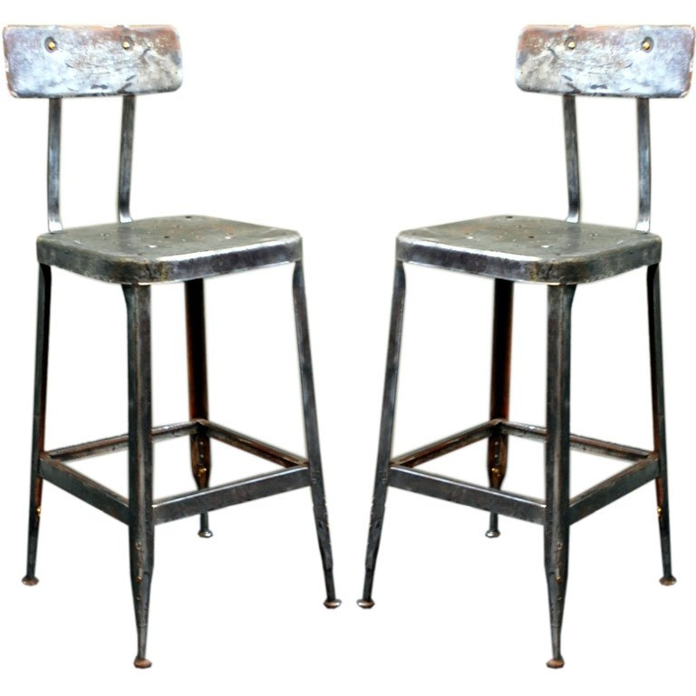 Pair Of Adjustable Industrial Bar Stools At 1stdibs with Industrial Bar Stools