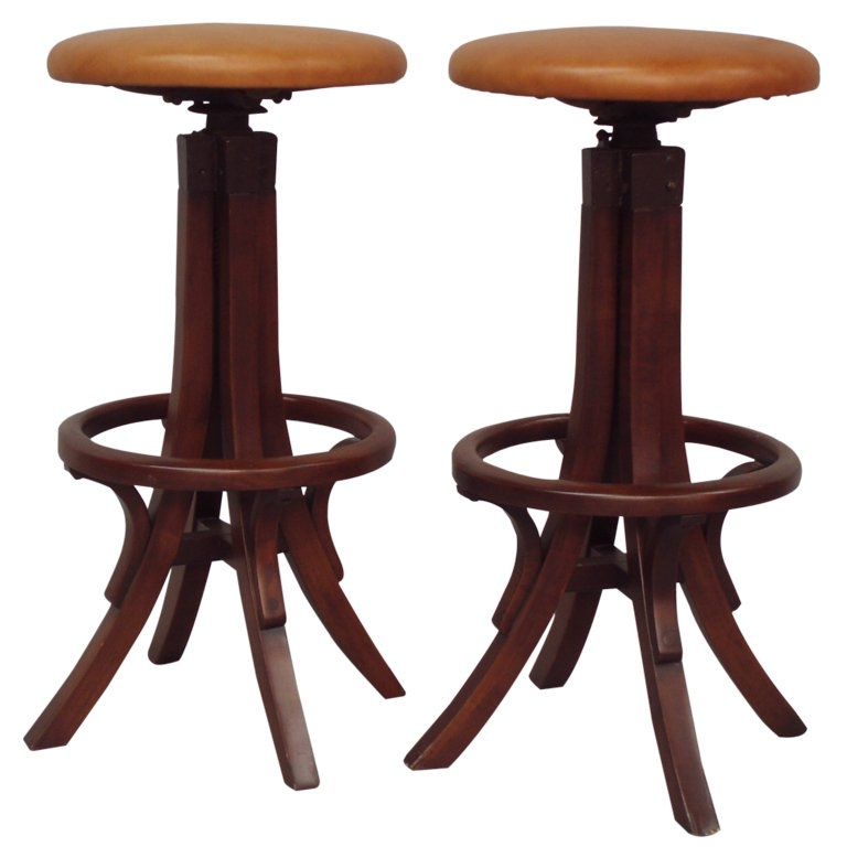 Pair Of Bentwood Adjustable Height Bar Stools At 1stdibs with regard to Adjustable Height Bar Stools