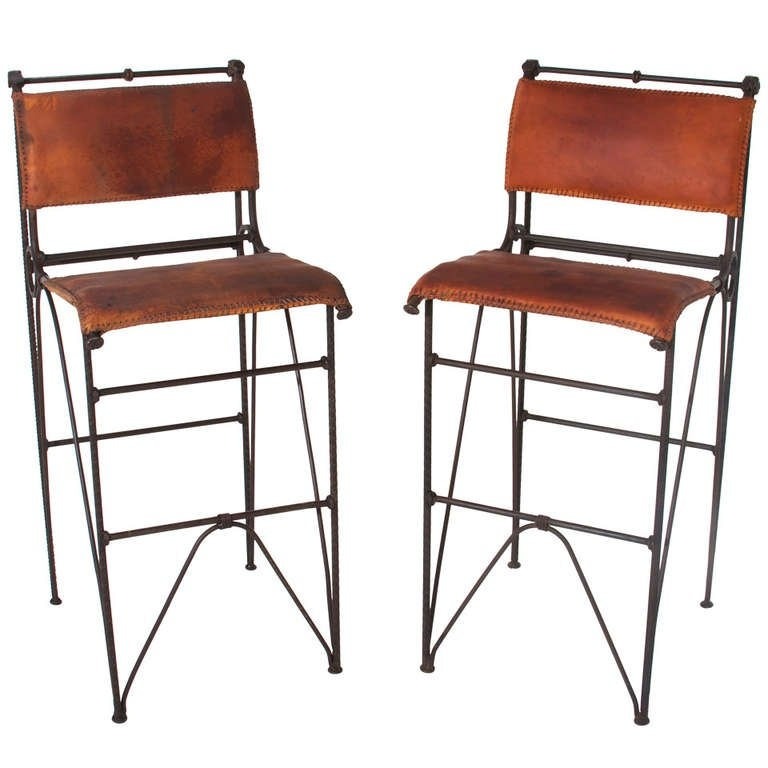 Pair Of Vintage Iron And Leather Bar Stools Ilana Goor For Sale within Awesome  leather bar stool regarding Residence