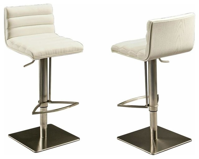 Pastel Dubai Hydraulic Barstool Stainless Steel With White Back throughout stainless steel bar stools with regard to Present Household