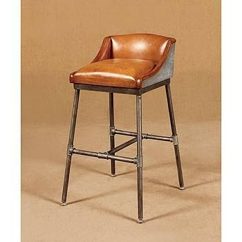Photo Of Brown Leather Bar Stool Industrial Leather Bar Stool intended for Brown Leather Swivel Bar Stools