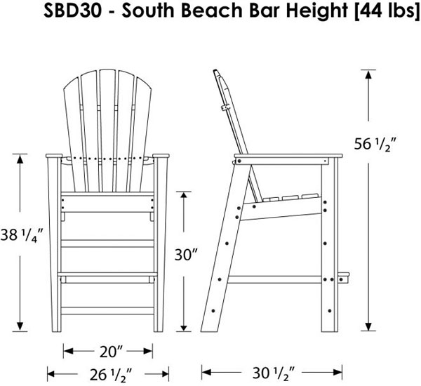 Polywood South Beach Bar Height Outdoor Chairs Adirondack Style pertaining to Adirondack Bar Stools
