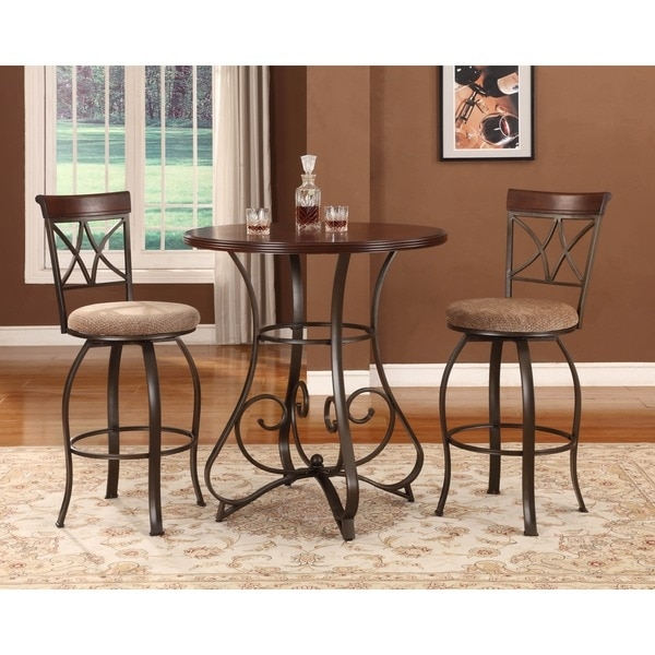 Powell 3 Piece Eden Pub Table Set 16612928 Overstock with The Brilliant  3 piece bar stool set with regard to Residence