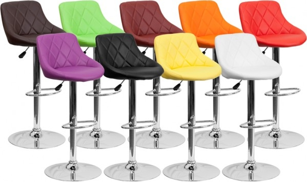 Quilted Bucket Seat Bar Stool With Adjustable Height Amp Swivel throughout Adjustable Height Swivel Bar Stools