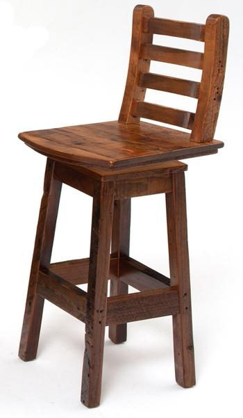 Reclaimed Wood Bar Stool Western Style Cabin Pub Stool pertaining to Incredible  swivel wooden bar stools with backs for Provide House