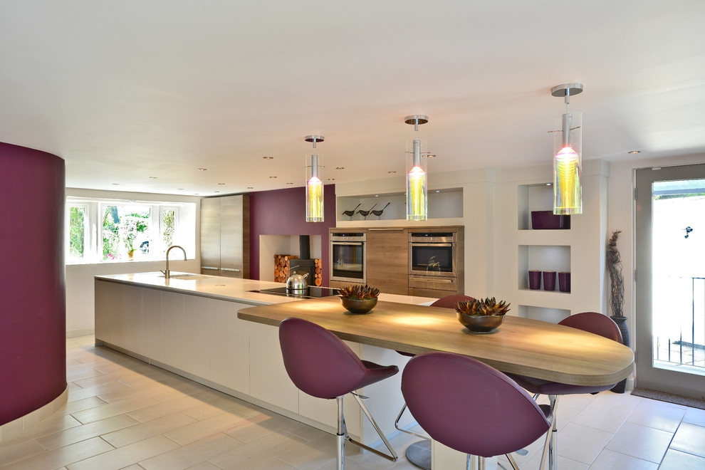 Remarkable Aubergine Color Decorating Ideas with Aubergine Bar Stool